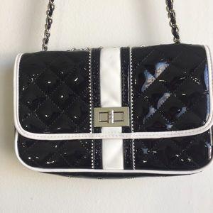 WHBM black & white faux patent leather crossbody